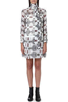 SACAI Tie-neckline printed chiffon dress