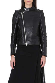 SACAI Zip-off sleeve leather jacket