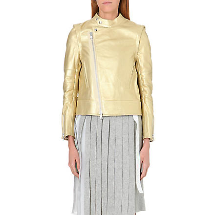 SACAI Zip-off sleeve leather jacket (Gold