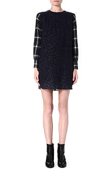 SACAI Check-sleeve leopard dress