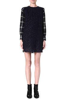 SACAI Check-sleeve leopard dress