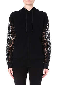 SACAI Lace-sleeved hooded jacket