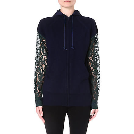 SACAI Lace-sleeved hooded jacket (Blue/green