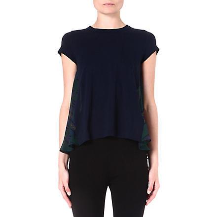 SACAI Printed-back cotton t-shirt (Navy