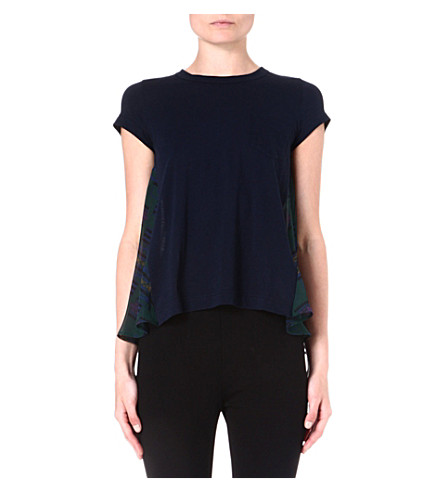 SACAI Printed-back cotton t-shirt (Navy