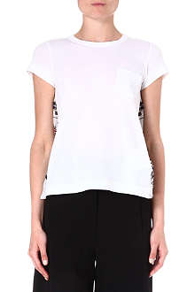 SACAI Printed-back cotton t-shirt