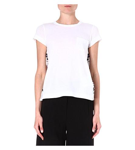 SACAI Printed-back cotton t-shirt (White