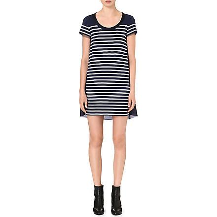 SACAI Contrast-back striped dress (Navy/white