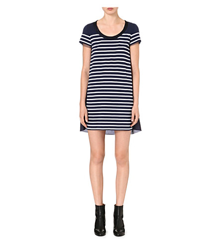 SACAI Contrast-back striped dress (Navy/white