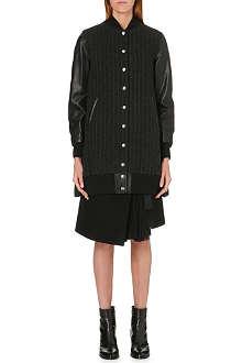 SACAI Contrast-sleeved pinstripe jacket
