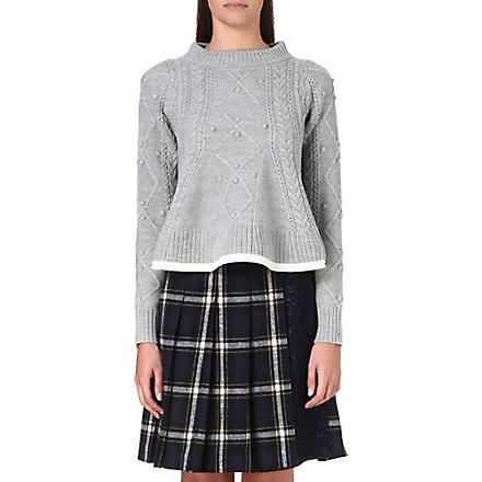 SACAI Textured wool jumper (L/gray