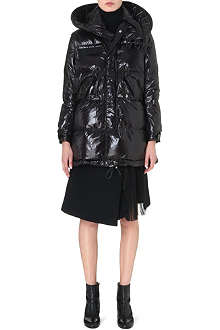 SACAI Shine-finish quilted coat