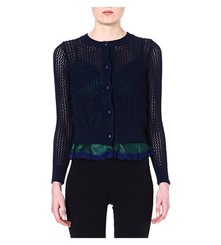SACAI Knitted cotton-blend cardigan (Navy