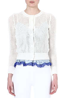 SACAI Knitted cotton-blend cardigan