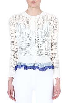 SACAI Knitted cotton-blend cardigan
