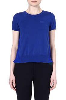 SACAI Sheer panel t-shirt