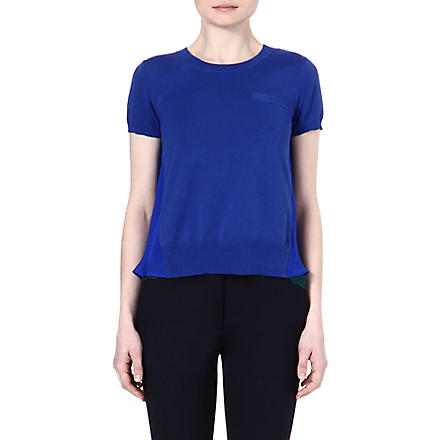 SACAI Sheer panel t-shirt (Blue