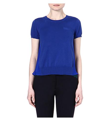 SACAI Sheer panel t-shirt (Blue