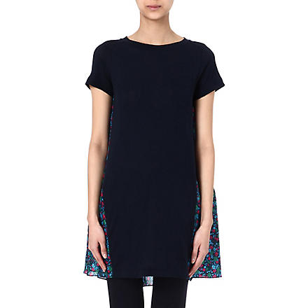SACAI Contrast floral dress (Navy