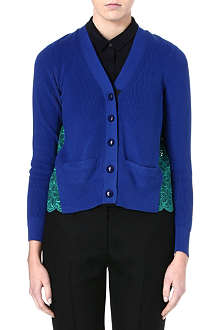 SACAI Lace-back v-neck cardigan