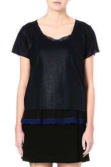 SACAI Lace-trimmed t-shirt
