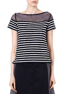 SACAI Striped sheer-panel top