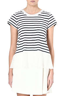 SACAI Ruffled-hemline striped t-shirt