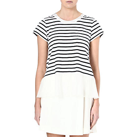 SACAI Ruffled-hemline striped t-shirt (Off wht / nvy