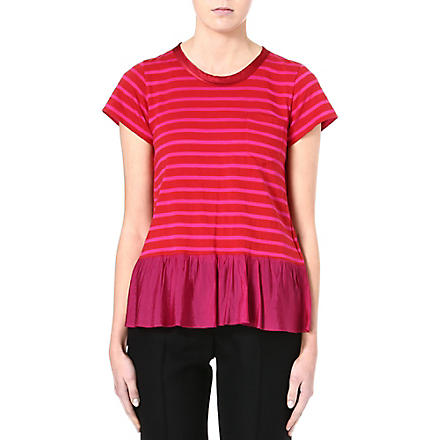 SACAI Ruffled-hemline striped t-shirt (Red / pink