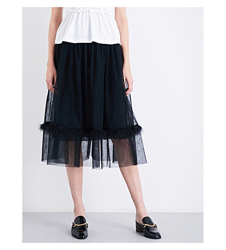 SIMONE ROCHA Feather-embellished smocked tulle midi skirt (Black