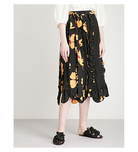 SIMONE ROCHA Floral-print scalloped tulle and crepe wrap skirt (Black/clementine