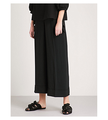 SIMONE ROCHA Scalloped crepe trousers (Black