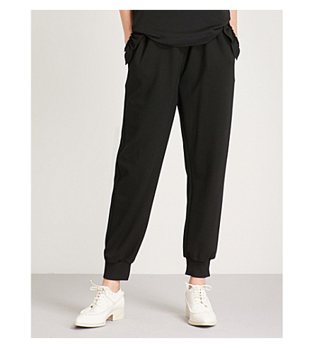 SIMONE ROCHA Scalloped-trim jersey jogging bottoms (Black