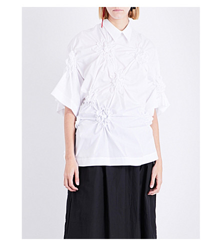 SIMONE ROCHA Flower-smocked cotton shirt (White