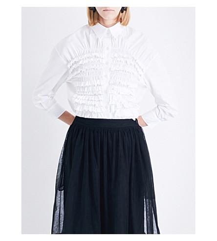 SIMONE ROCHA Smocked cotton-poplin shirt (White