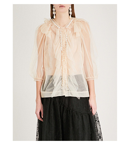 SIMONE ROCHA Faux-pearl embellished tulle blouse (Nude