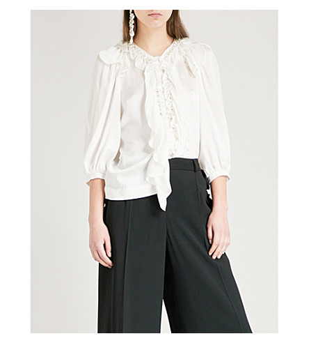 SIMONE ROCHA Ruffled embellished silk-satin top (Ivory
