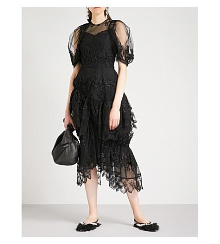SIMONE ROCHA Tinsel Doll embroidered mesh dress (Black/black