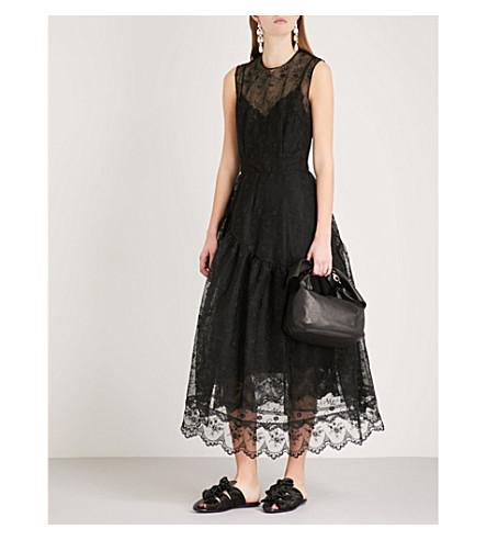 SIMONE ROCHA Asymmetric sleeveless lace dress (Black