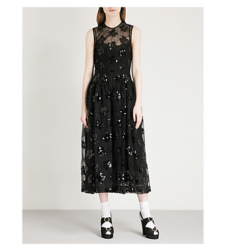 SIMONE ROCHA Sequin-embellished tulle midi dress (Black/black
