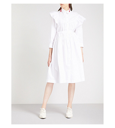 SIMONE ROCHA Faux pearl-embellished cotton-poplin dress (White/pearl
