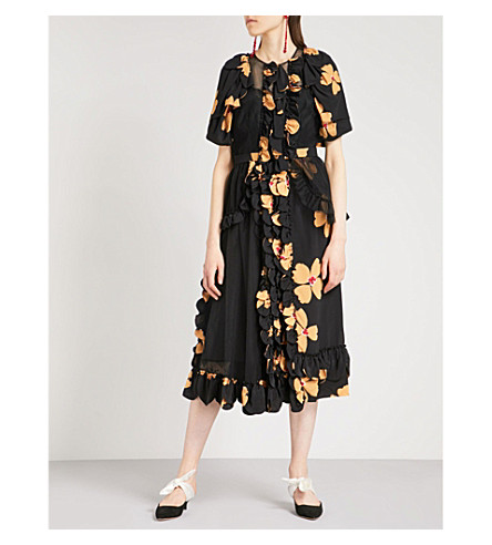 SIMONE ROCHA Floral-print mesh and crepe dress (Black/clementine