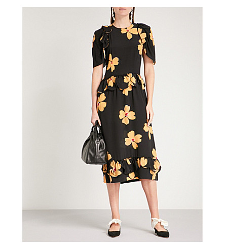 SIMONE ROCHA Floral-print fit-and-flare silk-crepe dress (Black/clementine
