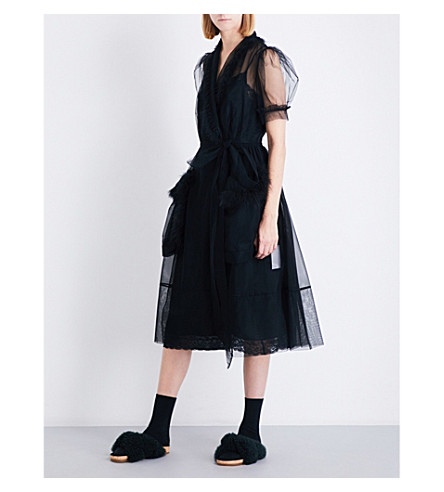 SIMONE ROCHA Teddy-trim tulle midi dress (Black