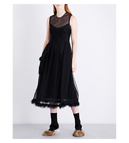 SIMONE ROCHA Feather-trim tulle midi dress (Black