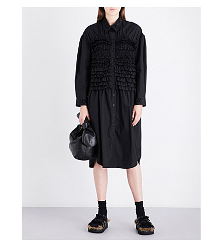 SIMONE ROCHA Bead-embellished smocked cotton dress (Black/black