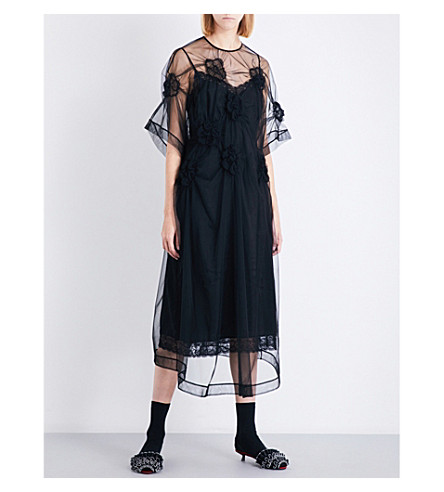 SIMONE ROCHA Flower-smocked tulle midi dress (Black