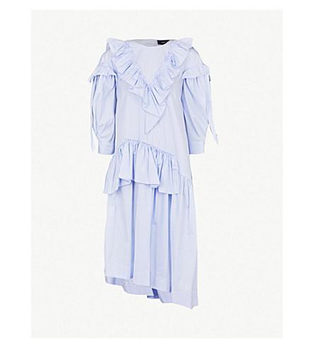 SIMONE ROCHA Asymmetric ruffled cotton-poplin dress (Blue