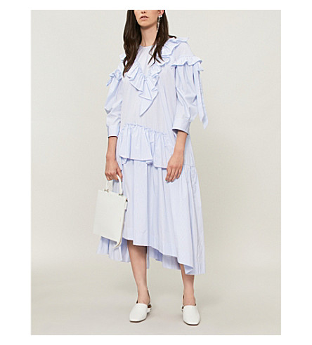 SIMONE ROCHA Asymmetric ruffled cotton-poplin dress (Blue