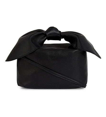 SIMONE ROCHA Bow-detail leather shoulder bag (Black